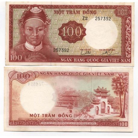 Billets de collection Billet de banque Vietnam Sud Pk N° 19 - 100 Dong Billets du Vietnam Sud 10,00 €
