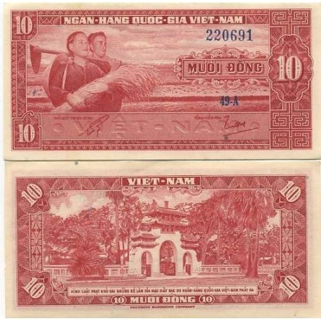 Billets de collection Billet de collection Vietnam Sud Pk N° 5 - 10 Dong Billets du Vietnam Sud 5,00 €