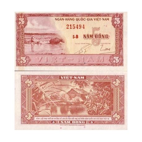 Billets de collection Billets collection Vietnam Sud Pk N° 13 - 5 Dong Billets du Vietnam Sud 4,00 €