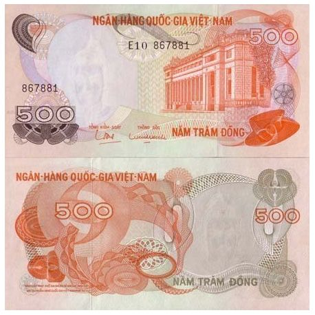 Billets de collection Billet de banque Vietnam Sud Pk N° 28 - 500 Dong Billets du Vietnam Sud 3,50 €
