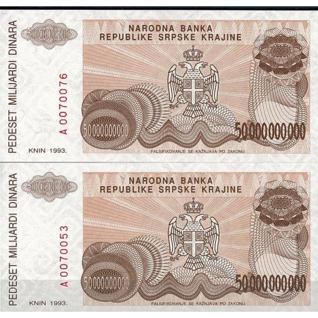 Billets de collection Billets collection Rep. Serbe de Krajina Pk N° 29 - 50 Billions Dinara Billets de Croatie (Serbie) 7,00 €
