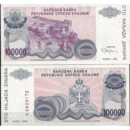 Billets de collection Billet de collection Rep. Serbe de Krajina Pk N° 22 - 100 000 Dinara Billets de Croatie (Serbie) 7,50 €