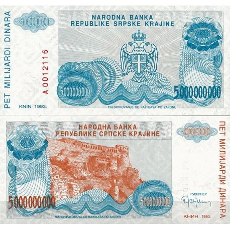 Billets de collection Billets collection Rep. Serbe de Krajina Pk N° 27 - 5 BIL Dinara Billets de Croatie (Serbie) 10,00 €