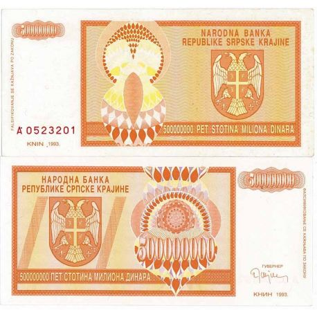 Billets de collection Billet de banque Rep. Serbe de Krajina Pk N° 16 - 500 MIL Dinara Billets de Croatie (Serbie) 9,00 €