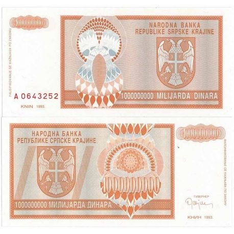 Billets de collection Billet de collection Rep. Serbe de Krajina Pk N° 17 - 1 BIL Dinara Billets de Croatie (Serbie) 9,00 €