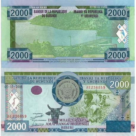Billets de collection Billet de collection Burundi Pk N° 47 - 2000 Francs Billets du Burundi 9,00 €