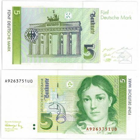 Billet de collection Allemagne Ouest Pk N° 37 - 5 Mark
