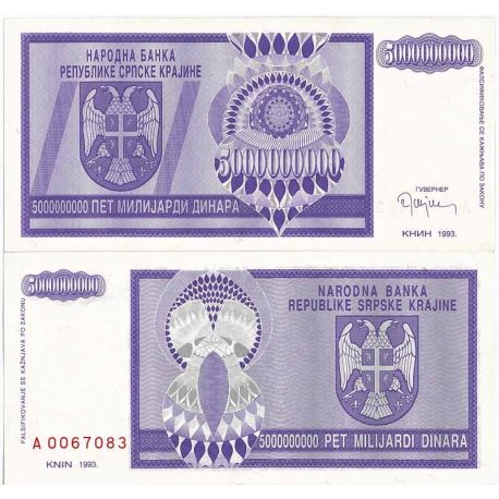 Billets de collection Billet de collection Rep. Serbe de Krajina Pk N° 18 - 5 BIL Dinara Billets de Croatie (Serbie) 11,00 €
