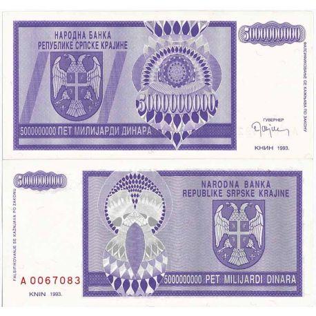 Croatie (Serbie) - Pk N° 18 - Billet de 5 BIL Dinara