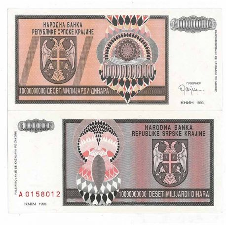 Billets de collection Billets collection Rep. Serbe de Krajina Pk N° 19 - 10 BIL Dinara Billets de Croatie (Serbie) 13,00 €