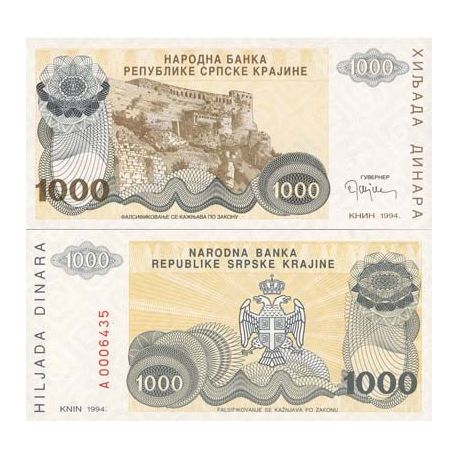 Billets de collection Billets banque Rep. Serbe de Krajina Pk N° 30 - 1000 Dinara Billets de Croatie (Serbie) 4,00 €