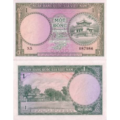 Billets de collection Billet de banque Vietnam Sud Pk N° 1 - 1 Dong Billets du Vietnam Sud 3,00 €