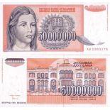 SammlungsBanknote Jugoslawien Pk Nr. 123 - 50 Millionen Dinara