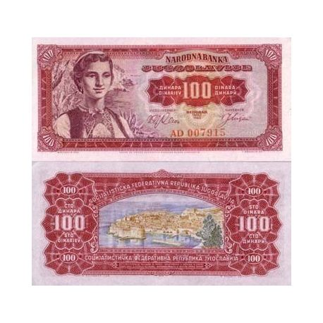 Billets de collection Billet de collection Yougoslavie Pk N° 73 - 100 Dinara Billets de Yougoslavie 4,50 €