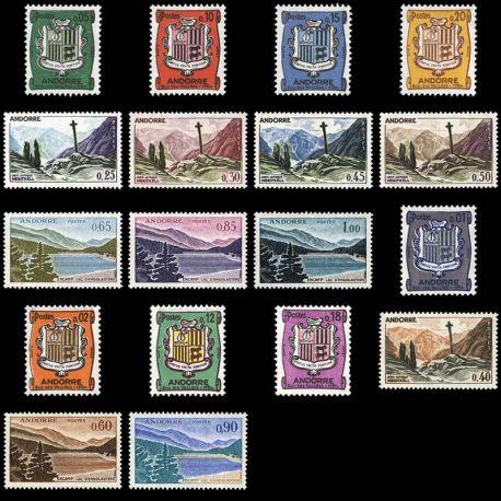 Timbre Andorre N° 153A au N° 164 neuf sans charnière