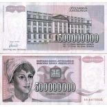 Billet de collection Yougoslavie Pk N° 125 - 500 MILLIONS Dinara