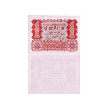 Billets de collection Billet de banque de 1 Kronen. Billet de collection Autriche - Pk N° 73 Billets d'Autriche 2,50 €
