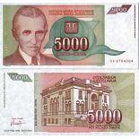 Banknote of collection Yugoslavia Pick N° 128 - 5000 Dinara