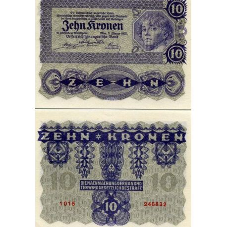 Billet de collection Europe, Autriche de 10 Kronen Pk N° 75.