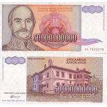 Billetes de banco Yugoslavia PK N° 136 - 50 Mil millones Dinara