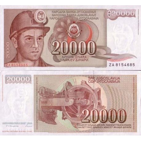 Billets de collection Billet de banque Yougoslavie Pk N° 95 - 20000 Dinara Billets de Yougoslavie 2,00 €