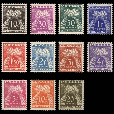 Timbre Andorre N° 21/31 TT neuf sans charnière