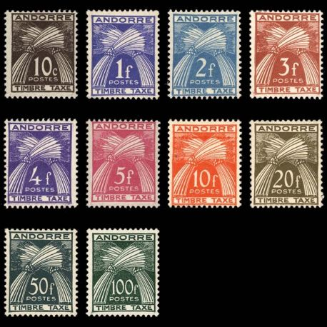 Timbre Andorre N° 32/41 TT neuf sans charnière