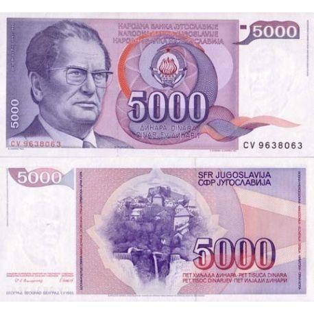 Billet de banque Yougoslavie Pk N° 93 - 5000 Dinara