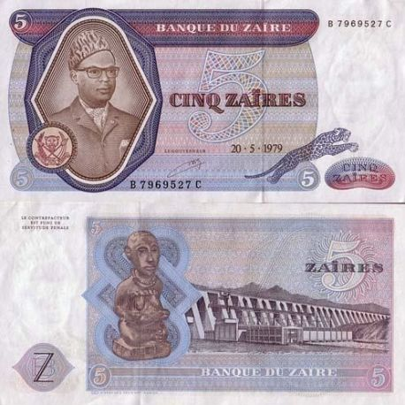 Billets de collection Billet de collection Zaire Pk N° 22 - 5 Nouveaux Makuta Billets du Zaire 10,00 €
