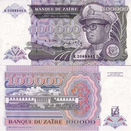 Billets de banque Zaire Pk N° 41 - 100000 Zaires
