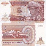 Billets de banque Zaire Pk N° 53 - 5 Nouveaux Zaires