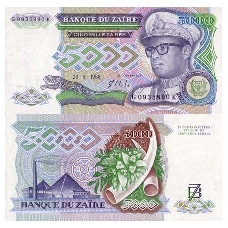 Billets de collection Billet de banque Zaire Pk N° 37 - 5000 Zaires Billets du Zaire 7,00 €