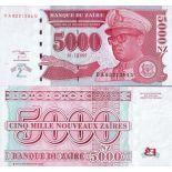 Billets banque Zaire Pk N° 69 - 5000 Nouveaux Zaires
