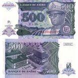 Banknoten Zaire Pick Nummer 63 - 500 Zaire