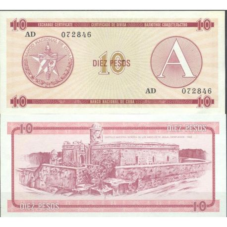 Billets de collection Cuba - Pk N° 4FX - Billet de banque de 10 Pesos Billets de Cuba 5,00 €