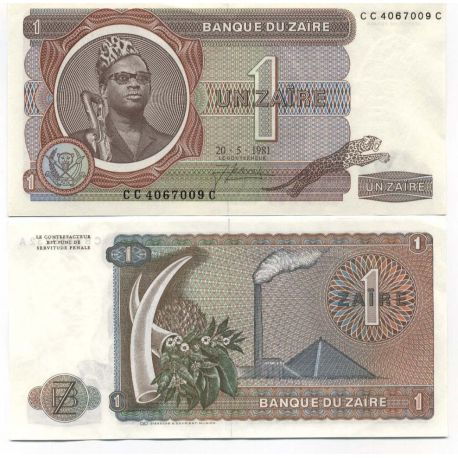 Billets de collection Billet de collection Zaire Pk N° 19 - 1 Zaires Billets du Zaire 7,00 €