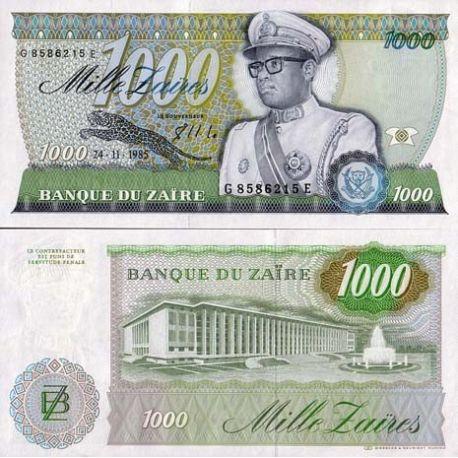 Billets de banque Zaire Pk N° 31 - 1000 Zaires