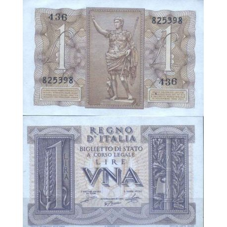 Billets de collection Italie - Pk N° 26 - Billet de banque de 1 Lire Billets d'Italie 19,00 €