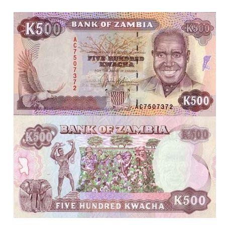 Billets de collection Billets banque Zambie Pk N° 35 - 500 Kwacha Billets de Zambie 6,00 €