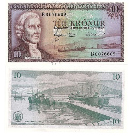 Billets de collection Islande - Pk N° 42 - Billet de banque de 10 Kronur Billets d'Islande 10,00 €