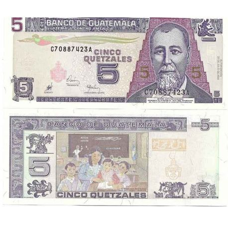 Billets de collection Guatemala - Pk N° 100 - Billet de banque de 5 Quetzal Billets du Guatemala 5,00 €