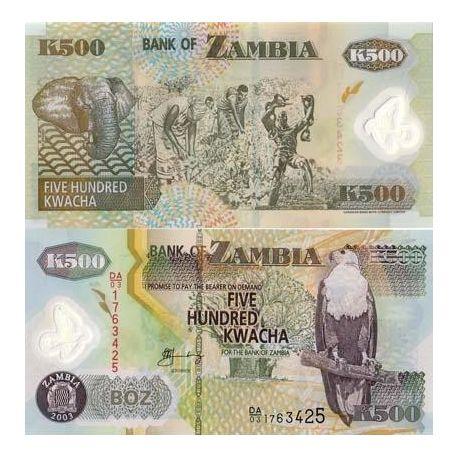 Billets de collection Billets collection Zambie Pk N° 43 - 500 Kwacha Billets de Zambie 2,50 €