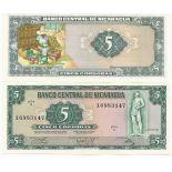Beautiful banknote Nicaragua Pick number 122 - 5 Cordoba