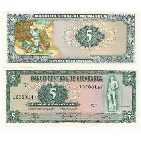 Nicaragua - Pk N° 122 - Billet de banque de 5 Cordobas