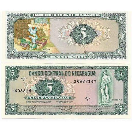 Billets de collection Nicaragua - Pk N° 122 - Billet de banque de 5 Cordobas Billets du Nicaragua 4,00 €