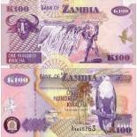 Colección Billetes Zambia Pick número 38 - 100 Kwacha
