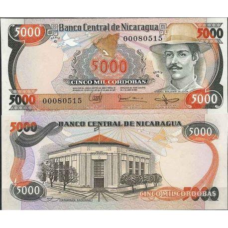 Billets de collection Nicaragua - Pk N° 146 - Billet de banque de 5000 Cordobas Billets du Nicaragua 4,00 €