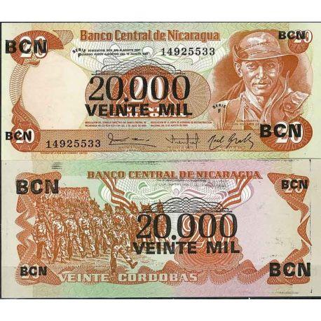 Billets de collection Nicaragua - Pk N° 147 - Billet de banque de 20000 sur 20 Cordobas Billets du Nicaragua 4,00 €