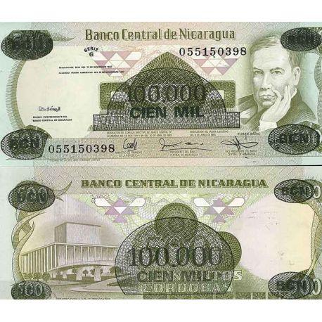 Billets de collection Nicaragua - Pk N° 149 - Billet de banque de 100000 sur 500 Cordobas Billets du Nicaragua 4,00 €