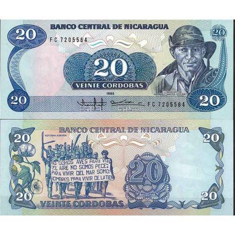 Billets de collection Nicaragua - Pk N° 152 - Billet de banque de 20 Cordobas Billets du Nicaragua 3,50 €